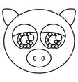 sketch silhouette face cute pig animal with big vector image vector image