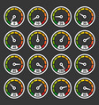speedometer and indicators icons set on dark vector image