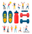 sports equipment and people doing exercises set vector image vector image