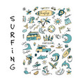 surfing icons collection for your design vector image vector image