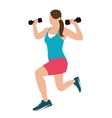 woman fitness position holding barbells with her vector image