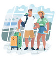 young couple traveling with travel bag holding vector image vector image