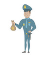 young hispanic policeman holding a money bag vector image vector image