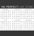 180 modern thin line icons set digital vector image vector image