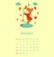 2018 october calendar with welsh corgi dog vector image vector image