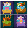 animals sleeping in bed fairytale pets asleep set vector image vector image
