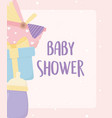 bashower bottle gift carriage card cartoon vector image