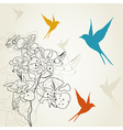 Birds a flower2 vector image vector image