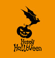 Black bat with pumpkin vector image