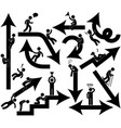 business emotion arrow sign symbol icon a set
