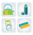 Camping supplies icons vector image vector image
