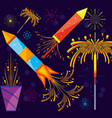 celebration of fireworks scene icon vector image vector image