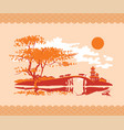 chinese landscape with pagoda bridge and cows vector image