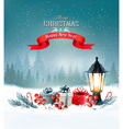 Christmas background with a lantern and a colorful vector image vector image
