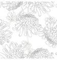 chrysanthemum outline flower seamless on white vector image vector image