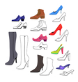 Colored outlined flat lay man women shoes set vector image vector image