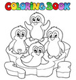 coloring book cute penguins 2 vector image vector image