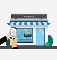 customer searching location for bitcoin currency vector image vector image
