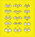 cute black emoticons faces with different vector image vector image