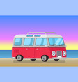 cute bus on evening beach vector image vector image