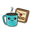 delicious coffee cup with slice bread kawaii vector image vector image