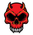detailed red demon devil skull head vector image