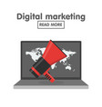 digital marketing concept megaphone and laptop vector image