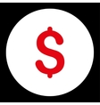 Dollar flat red and white colors round button vector image