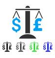 dollar pound balance flat icon vector image vector image