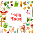 easter symbols poster for greeting card design vector image
