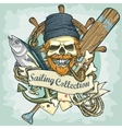 Fisherman skull logo design - Sailing Collection vector image