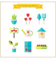 Flat Spring and Gardening Objects Set vector image
