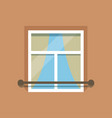 flat window with facade cornice on brown wall vector image vector image