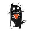 funny cat with heart sketch for your design vector image vector image