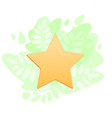 gold star icon on greenery backdrop positive vector image vector image