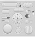 gray interface buttons 3d set of ui icons vector image vector image