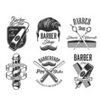 haircut head mustaches scissors barbershop signs vector image