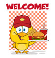 happy yellow chick holding a fast food tray vector image vector image
