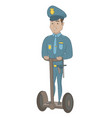hispanic security guard riding electrical scooter vector image vector image
