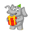 holds a gift congratulates vector image vector image