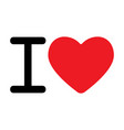 i love sign with heart icon vector image vector image