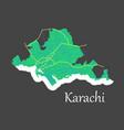 Karachi pakistan colorful flat map streets vector image