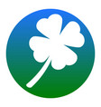 leaf clover sign white icon in bluish vector image vector image