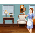 Maid cleaning the house vector image