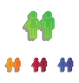 Male and female sign Colorfull applique icons set vector image vector image