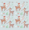 merry christmas seamless pattern cute fawn in vector image vector image