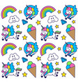 pattern with happy unicorn vector image vector image