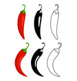 peppers flat and outline icons vector image vector image