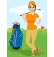 pretty female golfer with golf club vector image vector image