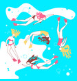 print with beautiful girls swimming sea vector image vector image